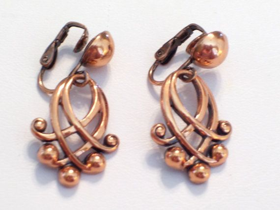 Vintage RENOIR Earrings Rare Renoir Copper Ornate by TheCopperCat, $28.00