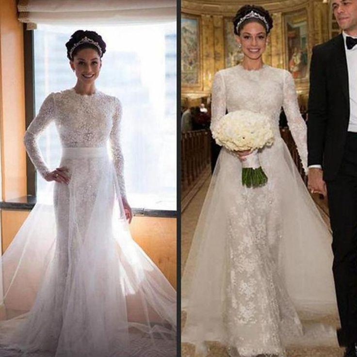 Great Vestido de noiva White Lace Mermaid Wedding Dress VERNASSA with Half Sleeves Brush Train Appliques Bridal Dress