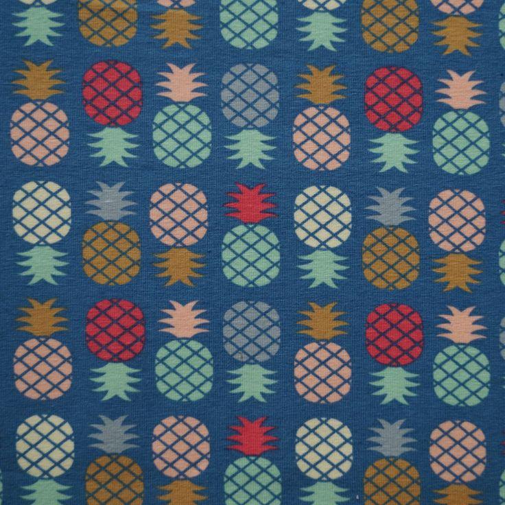 ananas pineapple tricot megan blue fabric