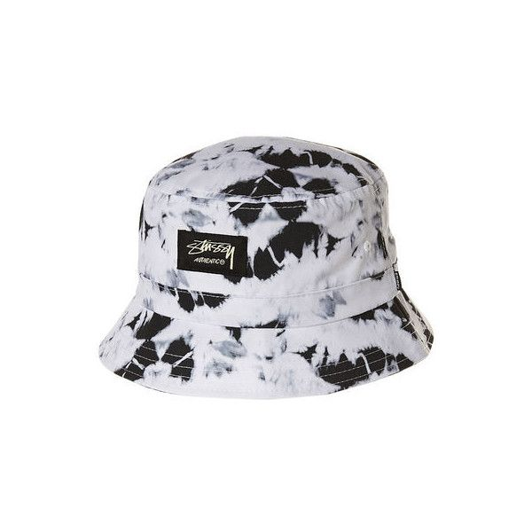 STUSSY TIE DYE BUCKET CAP BLACK ($30) ❤ liked on Polyvore featuring accessories, hats, bucket hats, fishing hat, fisherman hat, tie dye bucket hat, fishing bucket hat and bucket cap