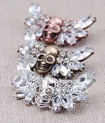 Розничная и оптовая продажа старинные 3-цветной сплав хрустальный череп брошь, Мода брошь ..