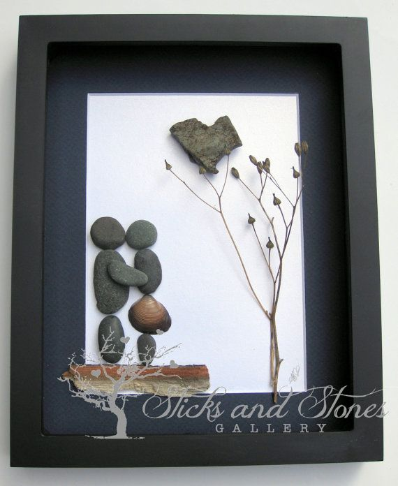 Reserved for Lisa Pebble Art Couple's Gift by SticksnStone on Etsy