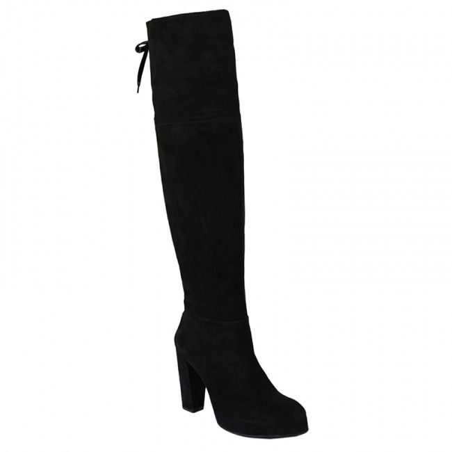 http://www.bigshoes.gr/womens-shoes/boots/mx-2504.html  Women's rubber boots suede over the knee in black. With side zipper for what easy application, perfect for impressive performances. With leather lining, lining internally and heel height 10cm front 2cm. In large sizes of Big Shoes.
