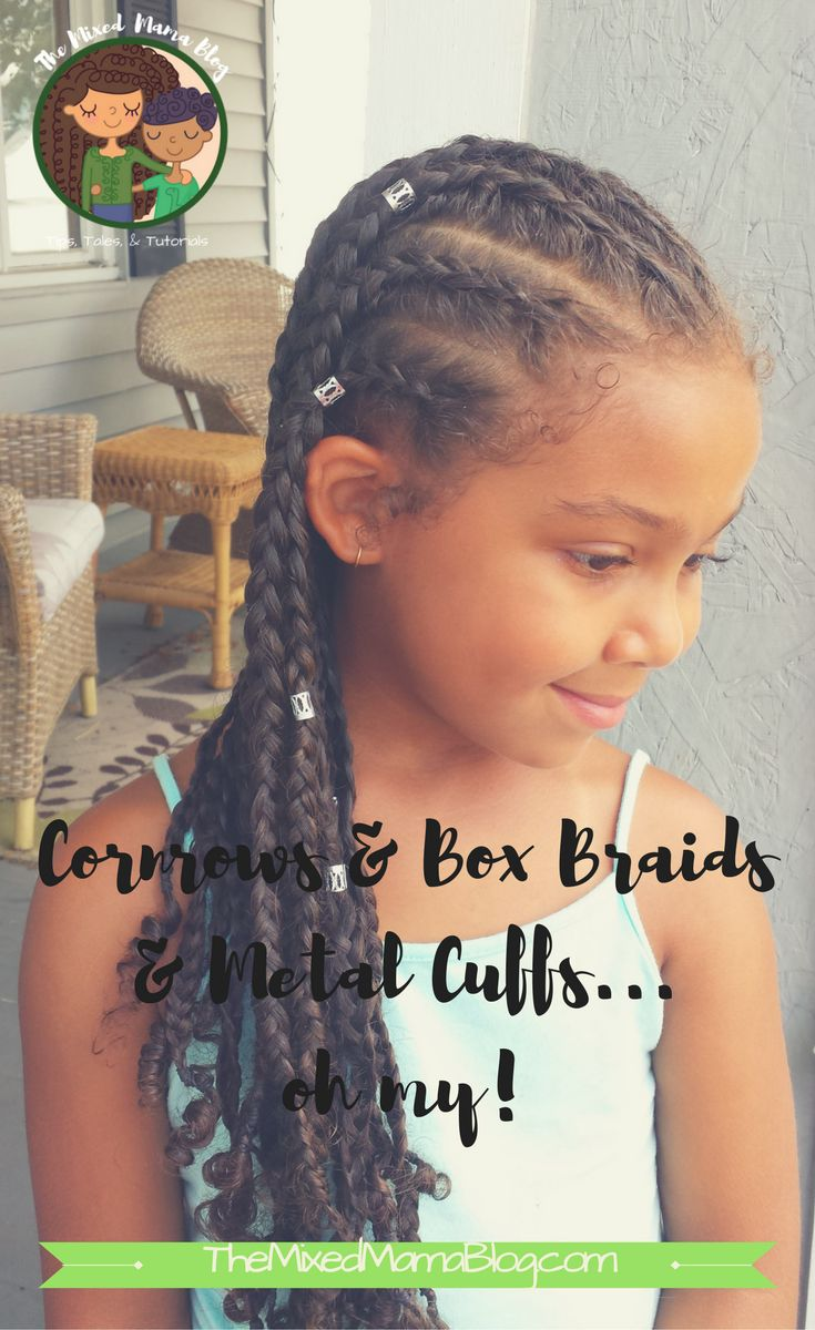 Beautiful protective style using cornrows, box braids, and metal cuffs. Great option for mixed kids.  multiracial kids | biracial hair care