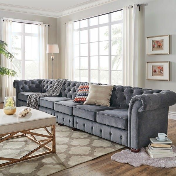 Overstock Com Online Shopping Bedding Furniture Electronics Jewelry Clothing More Tufted Chesterfield Sofa White Furniture Living Room Dark Grey Couch Living Room
