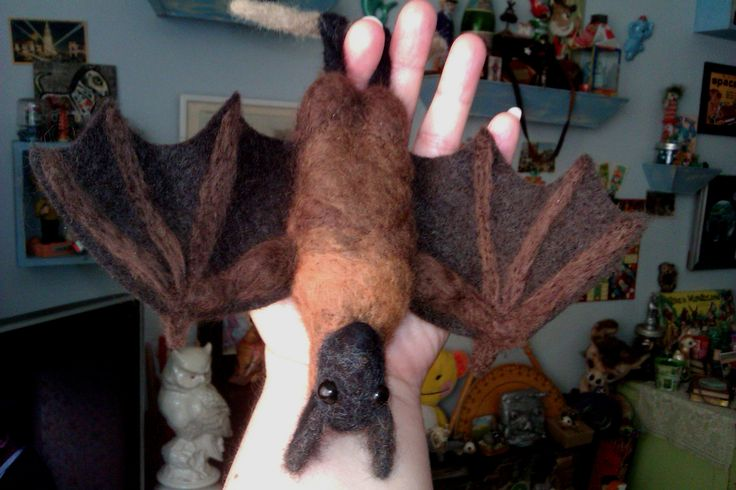 """""""Stroop"""" the Flying Fox Bat; 2014; needle felted sculpture by Holly Boone of Polar Lights Art Studio. - SOLD! http://polarlightsart.wix.com/plas#!hollys-work/cq0w"""