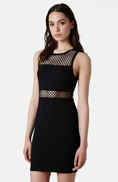 Topshop 'Airtex' Brushstroke Print Mesh Detail Body-Con Dress available at #Nordstrom