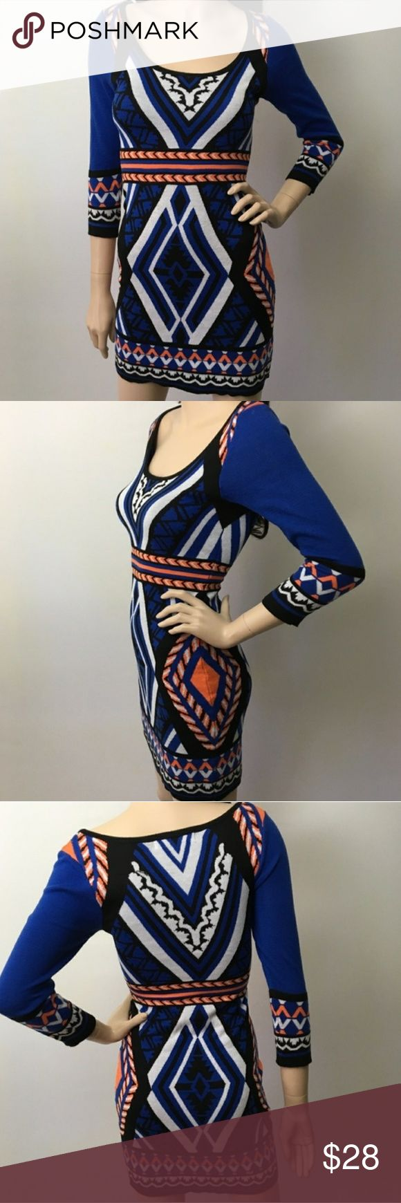 "Flying Tomato Aztec Bodycon Dress Flying Tomato Aztec Bodycon Dress   Extremely flattering form fitting dress. Lightly worn. Bodycon style with multicolored Aztec print. No flaws. 33"" length. Flying Tomato Dresses Long Sleeve"