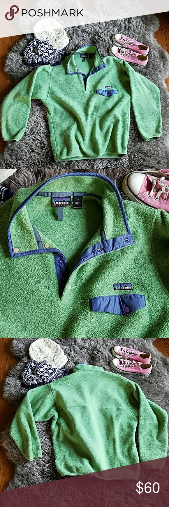 Vintage Patagonia Synchilla Snap-T pullover Awesome vintage Patagonia Synchilla Snap-T fleece pullover. Green with periwinkle blue accents. VGUC. Normal pilling, no stains, rips, etc. Size M. Patagonia Jackets & Coats