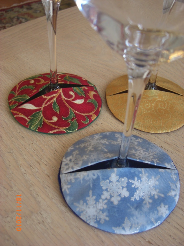 Wine Glass Coaster Cozy Sewing Pinterest Glasses