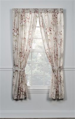 Delightful Floral Print Panel Curtains Pair With Tie Backs For Living Room Curtains Choice Of