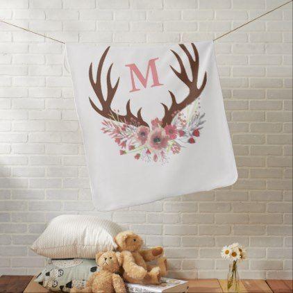 #initial - #Bohemian Watercolor Flowers & Deer Antlers Initial Baby Blanket