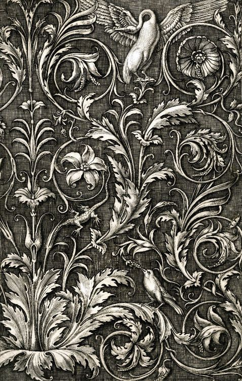 speciesbarocus:  Agostino Veneziano- Ornamental print (c. 1530).