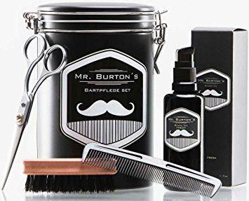 Hochwertiges Bartpflege Set - inklusive Mr. Burton´s Bartöl, Bartbürste, Bartschere und Kamm - als Geschenk zu Ostern, oder Geburtstagsgeschenk für Männer und Bartträger (FRESH)