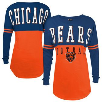 5th & Ocean by New Era Chicago Bears Women's Orange Baby Jersey Spirit Top Long Sleeve T-Shirt
