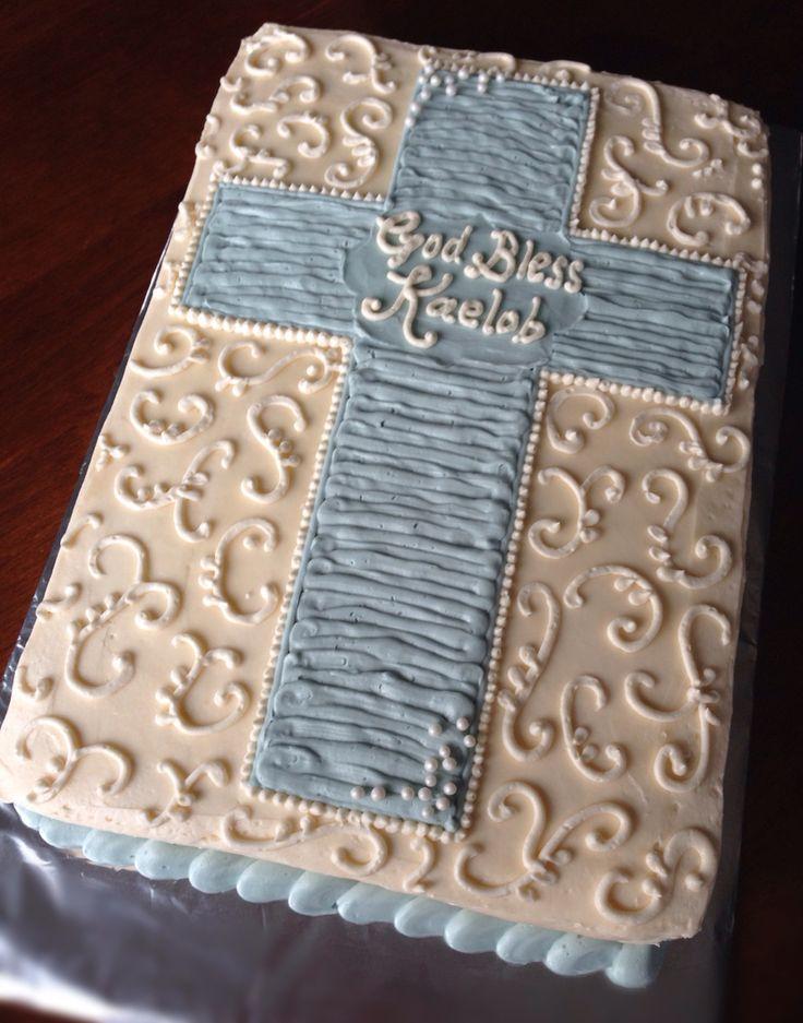 Baby boy baptism christening cake buttercream simple cross