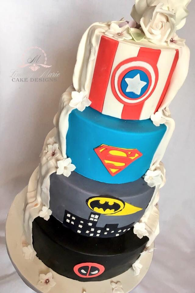 Marvel/DC Comics Half And Half Wedding Cake.   Visit To Grab An Amazing