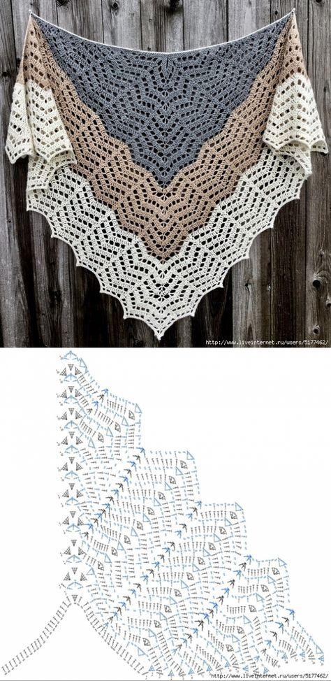 Crochet shawl   Шали крючком   Pinterest   Chal, Ganchillo y Tejido