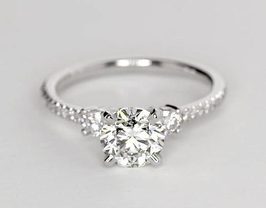 1 Carat Diamond Petite Micropavé Trio Diamond Engagement Ring | Recently Purchased | Blue Nile anillos de compromiso | alianzas de boda | anillos de compromiso baratos http://amzn.to/297uk4t