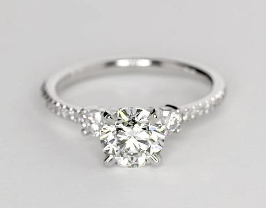 1 Carat Diamond Petite Micropavé Trio Diamond Engagement Ring | Recently Purchased | Blue Nile