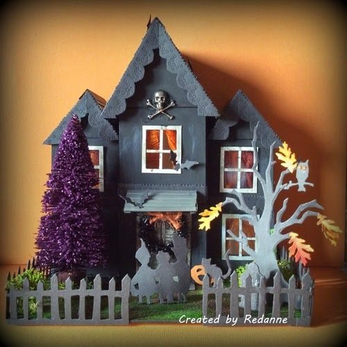 Redanne: A Haunted House....!; Oct 2014  NTS:  This house is amazing.  She used Eileen Hull's ATB dies to make the house and Tim Holtz's dies to decorate it.  Tutorial supplied.