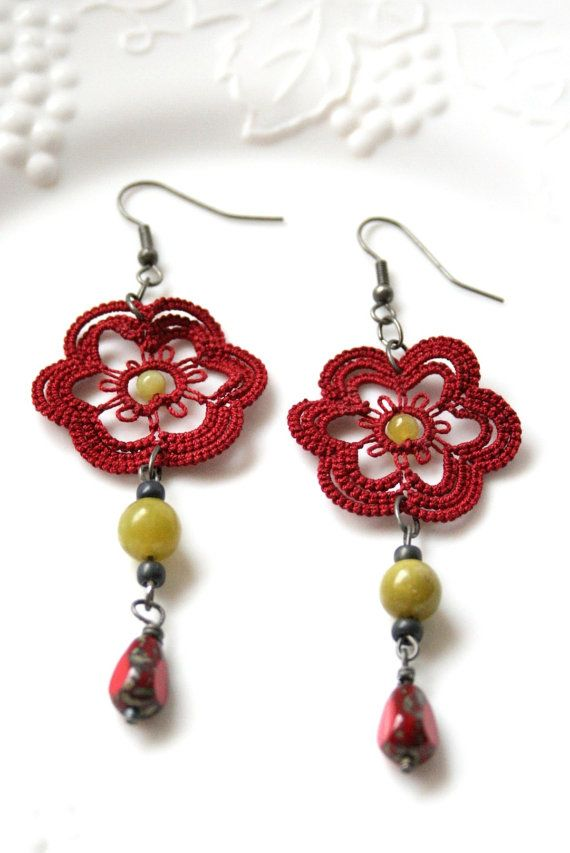 Red Tatted Beaded Dangle Flower Earring Jade by KnotTherapy, $21.00
