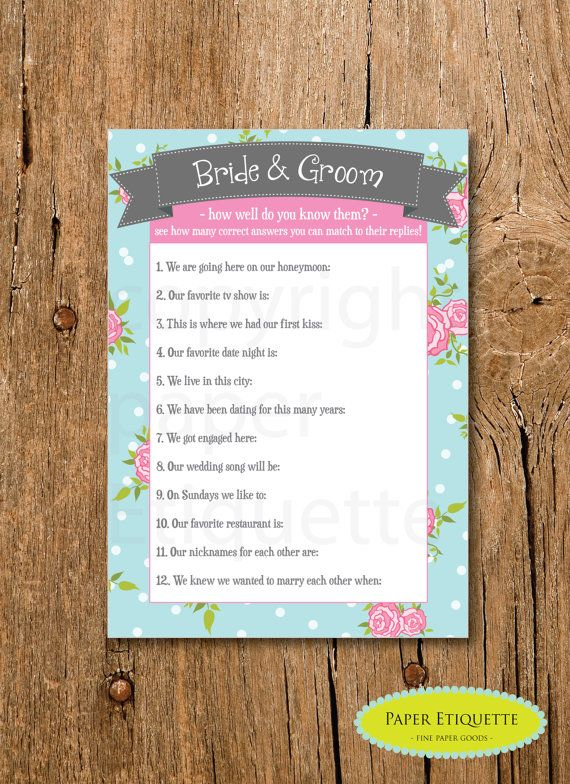 """INSTANT UPLOAD Bridal Shower Game """"How Well do you know the Bride  Groom"""" - Turquoise, Pink and Gray Rose -  Print Your Own on Etsy, $6.50"""