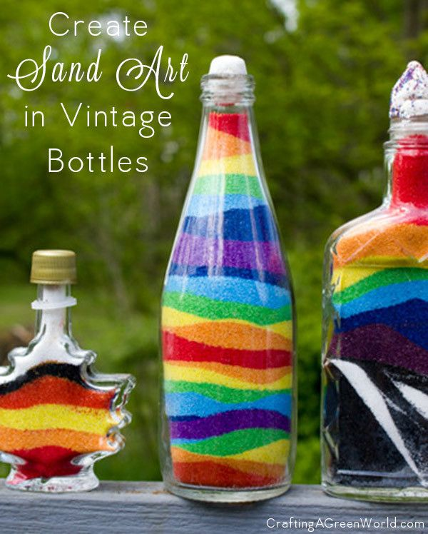 One of my children's favorite projects to do with these vintage bottles is the age-old craft of sand art.