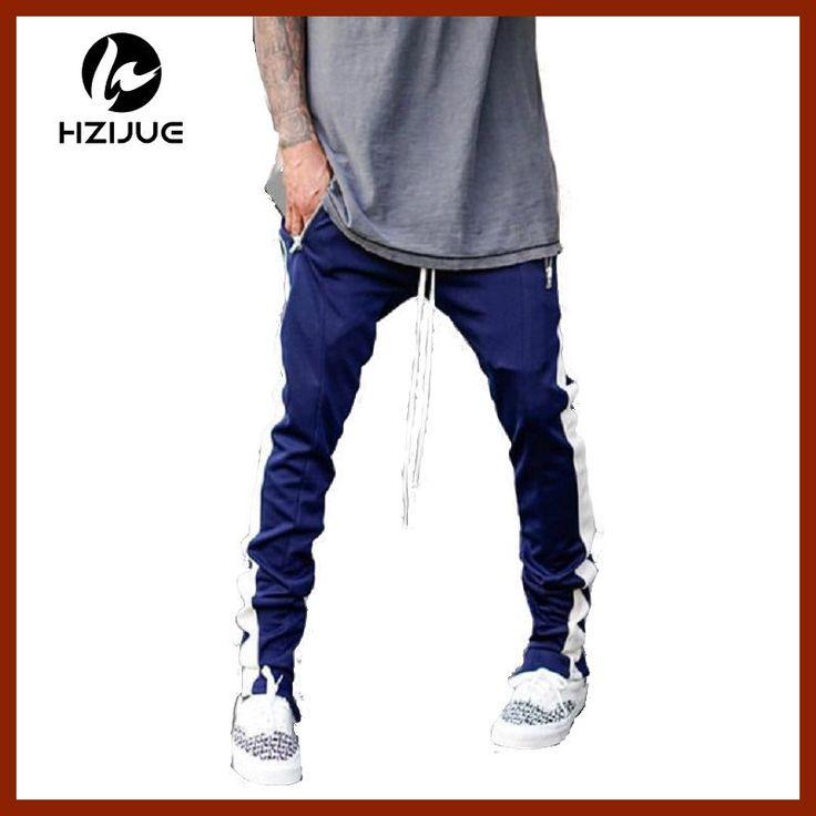 2017 Lengthened Section Sweatpants Men Occident Retro Hip Hop Trousers Side  Zipper Hit Color Unisex Casual