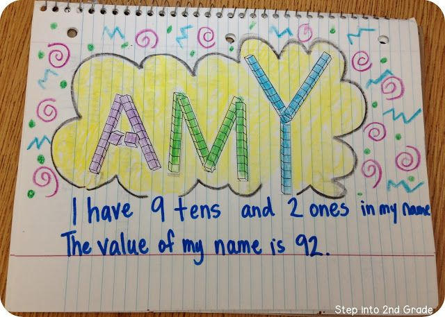 Give the kids place value  blocks to make their name... have them calculate the value of their name.