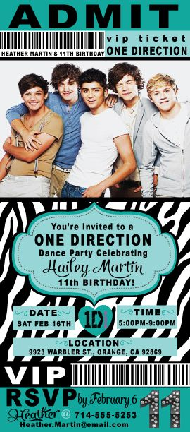 Is your tween obsessed with One Direction? Are you planning on throwing a One Direction birthday party? Then you came to the right place! This VIP ticket to your One Direction party is totally customizable...right down to the colors! You can choose any color. Check these out and more at www.delightinvite...