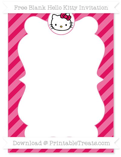 need a hello kitty themed party invitation you can personalize get this cute maroon diagonal striped blank hello kitty invitation you can edit on the - Hello Kitty Party Invitations