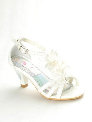 Ivory Chiffon Fl Accent S Sandals With Lovely Heart Sizes 9 Youth 4