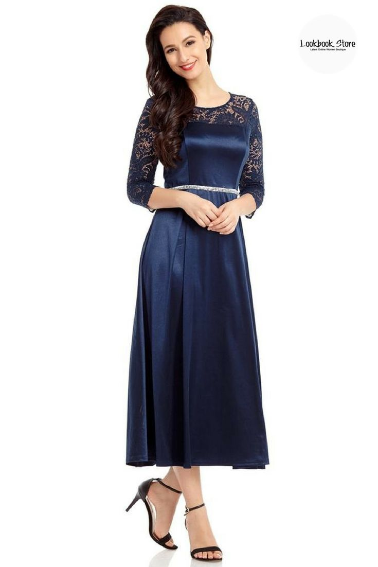Dresses // Put on this gorgeous navy lace-sleeve long satin dress with your ankle strap heels and sophisticated makeup for a simple yet head-turning look. Get this beauty here.