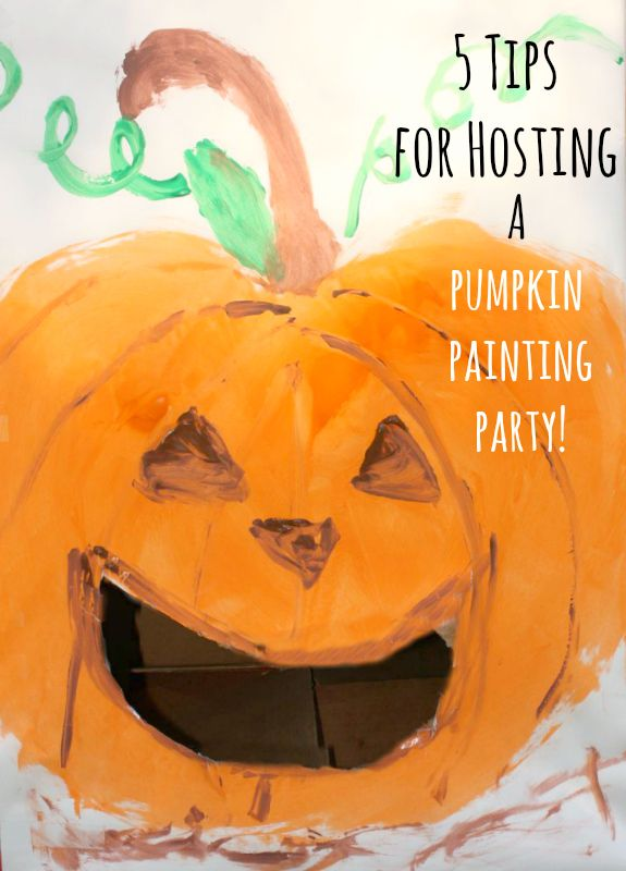So cool!! 5 Tips for Hosting a Pumpkin Painting Party -- plus free printable invitation #party #halloweenideas