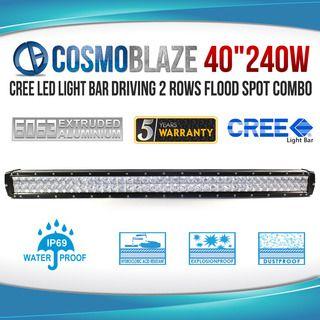 "Cosmoblaze 40"" 240W CREE LED Light Bar Driving 2 rows FLOOD SPOT COMBO"