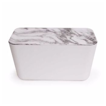 Bosign XXL Hideaway White Marble Cable Organiser : XXL white marble hideaway cable organiser by Bosign is designed to hide all cables and cords for your electronic devices in a tidy way. The power supply cable runs from the underside of the box, while the cable that connects to your gadgets runs through a hole in the lid.