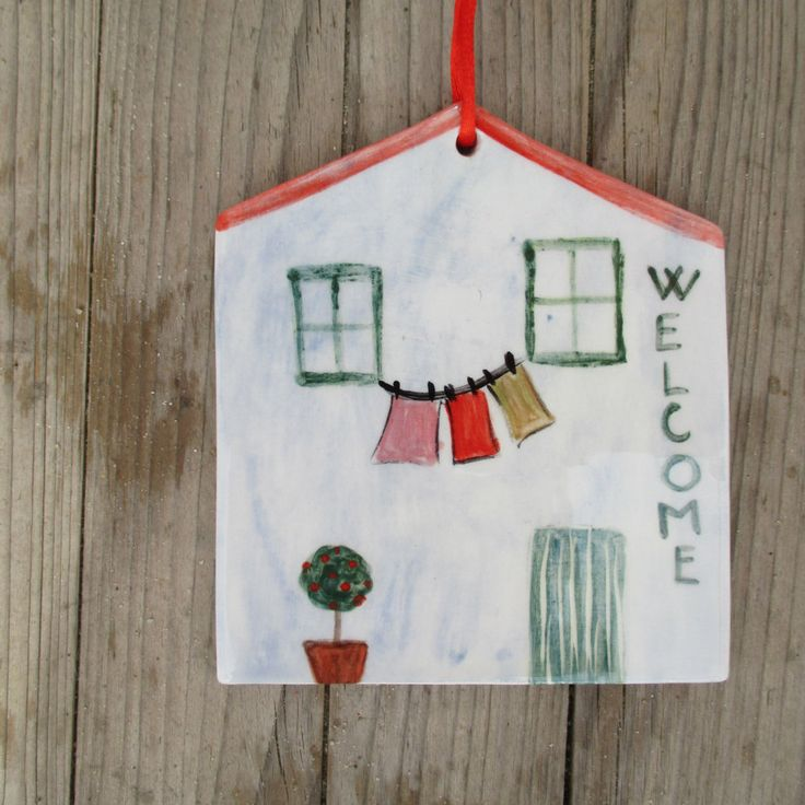 Welcome Tile,Ceramic Welcome Sign,Pottery House,Housewarming Gift,Ceramic Welcome Tile,Blue,Red,Green,Wall Hanging,Family home Sign,Cute by TatjanaCeramics on Etsy