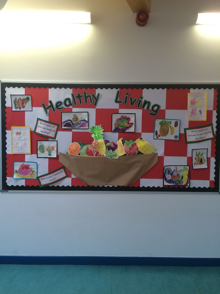 Healthy Living Display Collaboration Of Kids Work Through