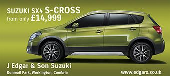 The SX4 S-Cross - a great crossover from the Suzuki brand. Test drive available at J Edgar & Son. www.edgars.co.uk