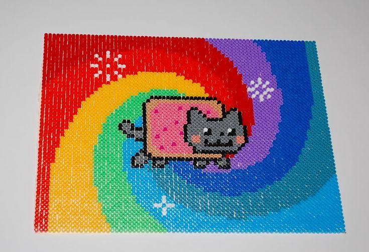 Nyan Cat perler art by Mina