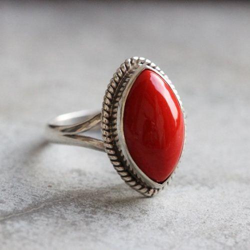 Red coral Ring - Artisan Bezel set ring - Gemstone ring - Sterling $125.00