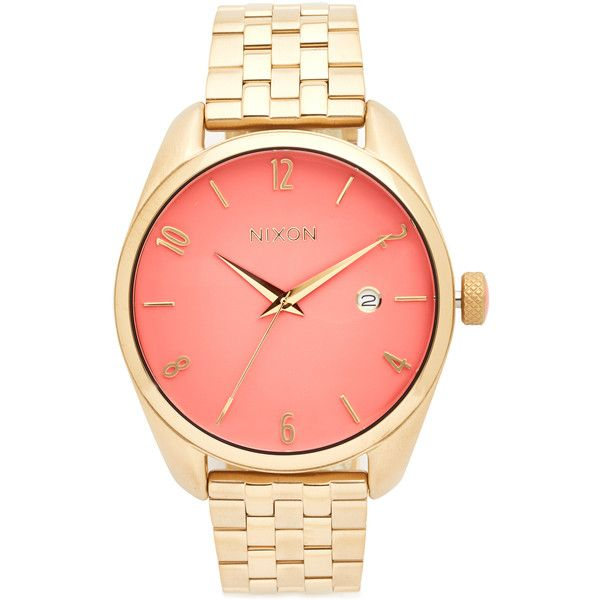 Nixon The Bullet Living Colour Watch ($255) ❤ liked on Polyvore featuring jewelry, watches, geometric jewelry, colorful watches, nixon wrist watch, crown jewelry and snap button jewelry