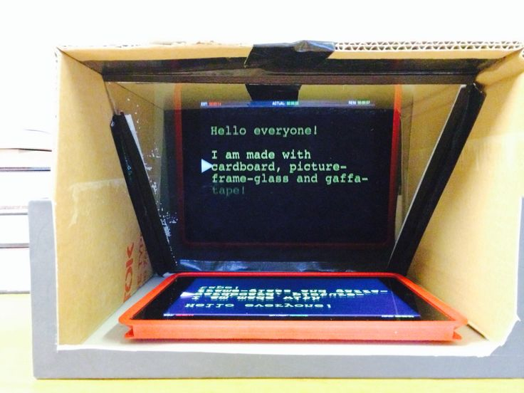 DIY teleprompter made with a shoe box, cardboard, gaffa-tape and a normal picture-frame-glass.
