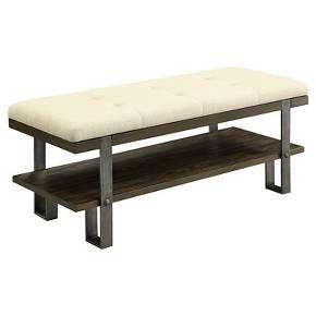 Norlin Contemporary Tufted Entryway Bench Dark Oak - Furniture of America : Target