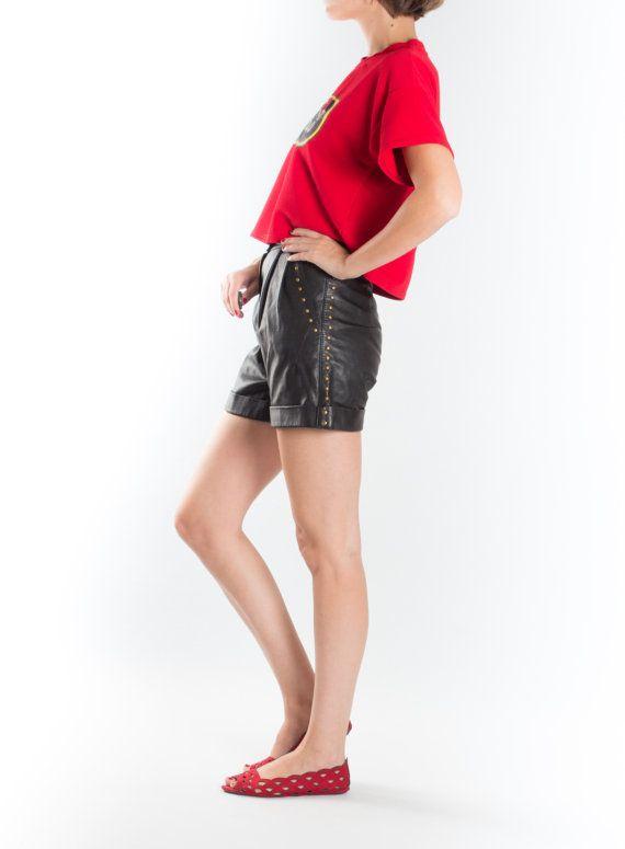Negro Vintage Shorts de cuero / pantalones cortos de cuero