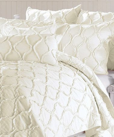 Take A Look At This Ivory Wavy Ruffle Quilt By Nmk Bedding