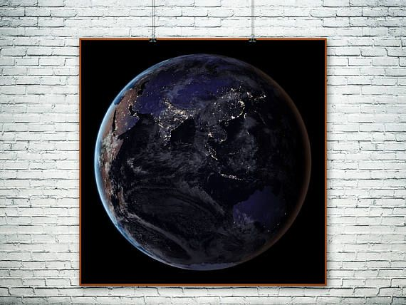 NASA night photo of Earth from space.The Black Marble.Night