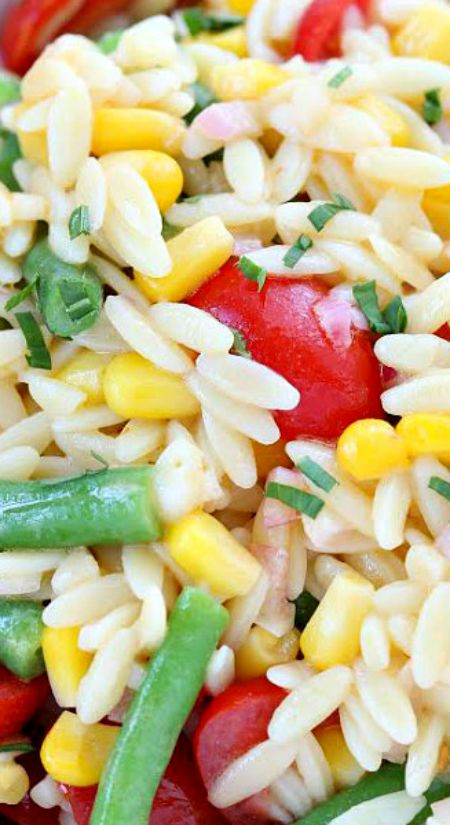 Orzo Salad with Corn, Green Beans and Tomatoes ~ There are lots of fresh vegetables mixed in to this pasta salad- making it a colorful and healthy choice