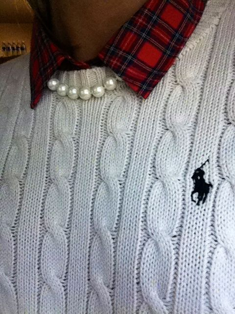 Love the string of pearls with the sweater and collared shirt!